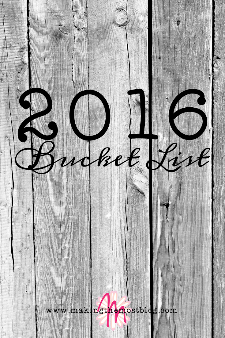 2016 Bucket List | Making the Most Blog