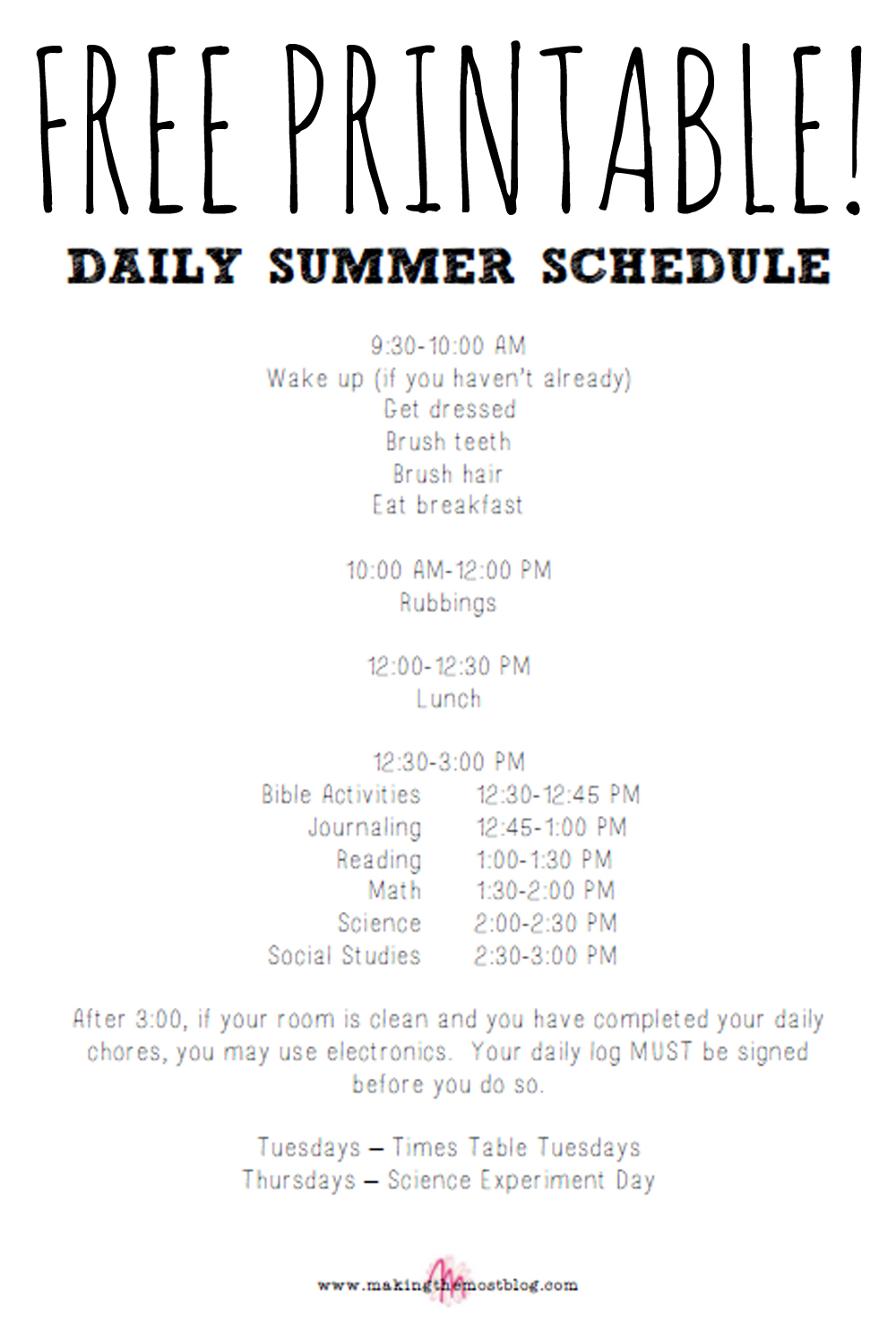 FREE! Printable Summer Schedule | Making the Most Blog