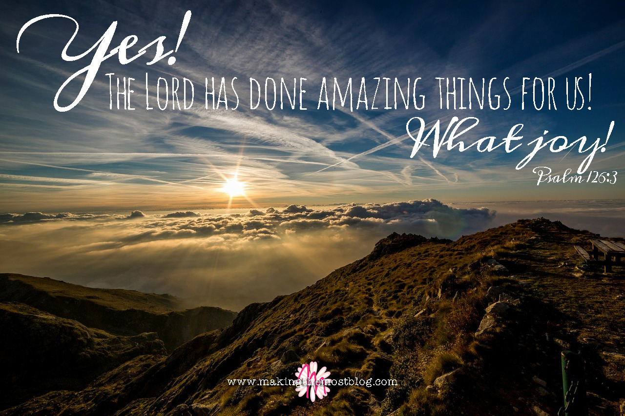 Yes!  The Lord has done amazing things for us!  What joy!   Psalm 126:3   Making the Most Blog