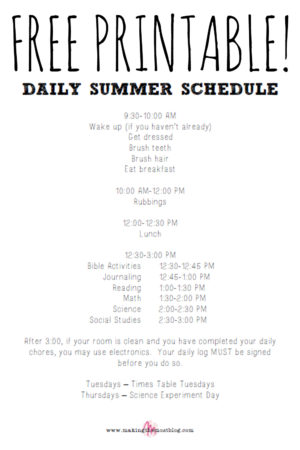 On Summer Routines {FREE Printable!}